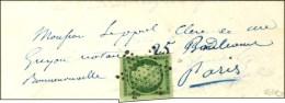 Etoile / N° 2 Nuance Vert Foncé (superbes Marges) Sur Lettre Avec Texte De Paris Pour Paris. 1852. -...