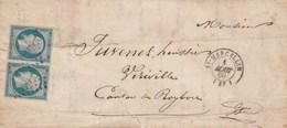 Yvert 14 X 2 Paire Belles Marges Sur Lettre Cachet St MARCELLIN Isère 1/8/1860 Pour Viriville Passe Roybon