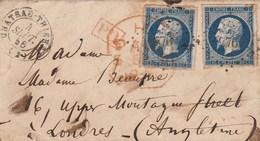 Yvert 14 X 2 Belles Marges Partie Lettre Cachet Chateau Thierry Aisne PC 776 - 4/9/1856 PD Rouge Pour Londres Angleterre