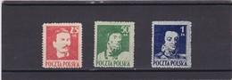 1944 Personalities Mi. 380/82, Scott 341/43, Yvert 427/29 Mint Never Hinged