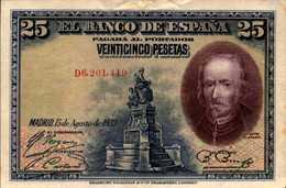 ESPAGNE 25 PESETAS Du 15-8-1928 Pick 74b  XF/SUP - [ 1] …-1931 : First Banknotes (Banco De España)