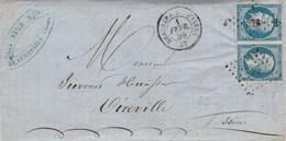 Yvert 14 X 2 Paire Belles Marges Sur Lettre Cachet BEAUREPAIRE D'Isère PC 328 - 1/2/1859 Pour Vireville Passe Roybon