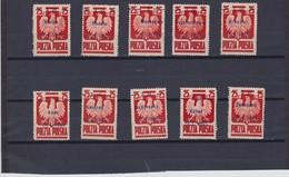 1945  Mi. 350I/X, Scott 347/56, Yvert 439 (10x) Mint  Hinged