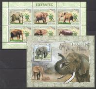 B360 2007 MOCAMBIQUE FAUNA ANIMALS ELEFANTES KB+BL MNH