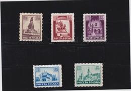 1945  Mi. 393/97, Scott 357/61, Yvert 442/46 Mint Never Hinged