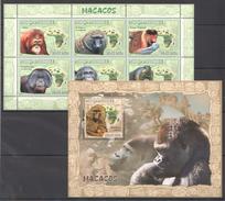 B363 2007 MOCAMBIQUE FAUNA ANIMALS MONKEYS MACACOS 1BL+1KB MNH