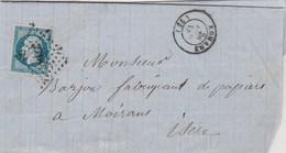 Yvert 14 Belles Marges Sur Lettre Cachet ROMANS Drôme  PC 2718 - 26/4/1858 Pour Moirans Isère