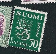 N° 146A  Armoiries Sur Fond Plein Type B (bleu)  Timbre Finlande SUOMI (1930/32) Oblitéré