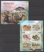 B370 2012 MOCAMBIQUE FAUNA REPTILES SERPENTES EM VIAS DE EXTINCAO 1KB+1BL MNH