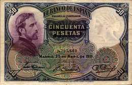 ESPAGNE 50 PESETAS Du 25-4-1931 Pick 82  XF/SUP - [ 1] …-1931 : First Banknotes (Banco De España)