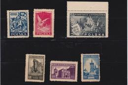 1945  Mi. 405,406,410/12,420, Scott 368,369,370/72,373, Yvert 453,450/52,461 Mint Never Hinged