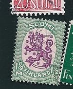 N° 140 Armoiries Et Vagues Type A (vert Et Lilas)   Timbre Finlande SUOMI (1929) Oblitéré