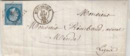 Yvert 14 Marges Sur Lettre Cachet MONTBRISON Loire PC 2071 - 24/5/1859 Pour Mende Lozère - Ambulant