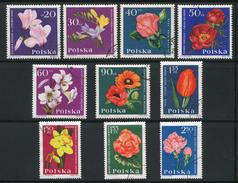 POLOGNE- Y&T N°1394 à 1403- Oblitérés (fleurs)