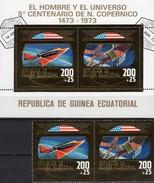 Kopernicus 1973 Äquatorial Guinea 257/8+Block 71 O 15€ Raumfähre Skylab Bloc Gold Space Se-tenant Ss Ecuator.Africa