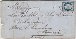 Yvert 14 Marges Sur Lettre Cachet VAUVILLERS Haute Saône PC 3506 - 20/1/1856 Pour Beaucaire Gard