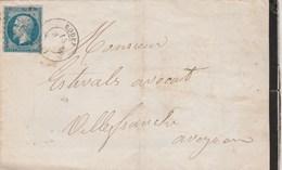 Yvert 14 Marges Sur Lettre Cachet RODEZ Aveyron PC 2710 - 15/11/1862 Pour Villefranche De Rouergue