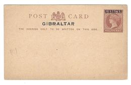 1886 British Colony Natal Overprinted Gibraltar Postal Stationery Card HG1 QV Halfpenny - Gibraltar