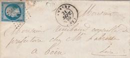 Yvert 14 Belles Marges Sur Lettre Cachet AMBERT Puy De Dôme PC 59 - 21/9/1859 Pour Boën Loire Passe St Etienne