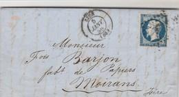 Yvert 14 Belles Marges Sur Lettre Cachet LYON Rhône - 5/1/1856 Pour Moirans Isère