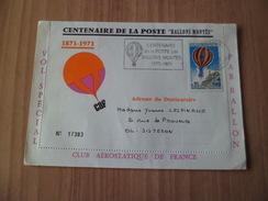 Pli Transporté Par Ballon Monté (centenaire De 1871) De Paris Le 28/1/1971 15h Pour BETZ (60) à 17h30 Avec Le PA 45  TB