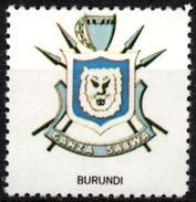 VIgnette Cinderella Seal Label - Burundi - Coats Of Arms - Lion Lions Löwen Löwe Leones Cats Lion's Head