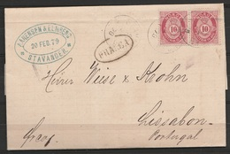 "Norvège - L. Affr 2x 10 öre Rouge Càd STAVANGER/1879 Pour LISBOA (Lisbonne Portugal) - Oval ""FRANCA"""