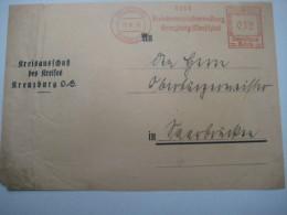 Firmen Freistempel , Meterstempel Auf Beleg Aus   1935 , Kreuzburg (Oberschlesien ), VORDERSEITE