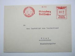 Firmen Freistempel , Meterstempel Auf Beleg Aus   1939 , ORDENSBURG KRÖSSINSEE über Falkenburg , Rückklappe Fehlt