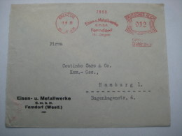 Firmen Freistempel , Meterstempel Auf Beleg Aus   1933 , Kreuztal  , 3 Seitig Geöffnet