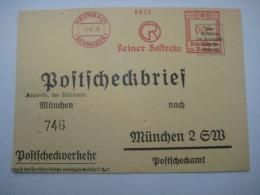 Firmen Freistempel , Meterstempel Auf Beleg Aus   1935 , KRUMBACH , Postcheckbrief, , Etwas Verkürzt