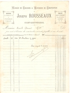 Facture De Joseph Rousseaux Charbons&Matéruaux De Construction à Court-St-Etienne Du 31/4/1917 PR4114 - 1900 – 1949