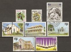 FIDJI - 1971/85 - Petit Lot De 8 Timbres° - Queen Mum - Fleur - Oiseau - Bâtiments Anciens - Vrac (max 999 Timbres)