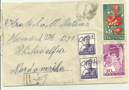 """Lettre Recommandée Roumanie Timbre Thème """" Fleurs"""" 1958 Destination USA"""