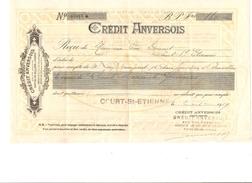 Reçu De 160 Frs Du Crédit Anversois Agence De Court-St-Etienne Daté Du 2/1/1919 PR4115 - 1900 – 1949