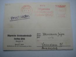 Firmen Freistempel , Meterstempel Auf Beleg Aus   1939 , Landau , 1 Aktenloch Geschlossen