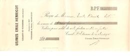 Reçu De 2 Frs Des Usines Emile Henricot à Court-St-Etienne Du 6/8/1915 PR4117 - 1900 – 1949