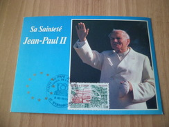 Carte  De La Visite De Jean- Paul II En France Octobre 1988 Strasbourg Le 8/10/1988 Service N°73 Conseil De L'Europe TB