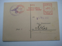 Firmen Freistempel , Meterstempel Auf Beleg Aus   1943 , Landsberg (Warthe)