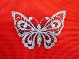 Très Belle Broche Ancienne Papillon Beau Travail Nombreux Brillants Début XXè Etat TTB - Broches