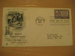 THE BIBLE PRINTED GUTENBERG Christianity Religion WASHINGTON 1952 FDC Cancel Cover USA