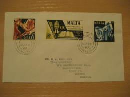1900 ANV. MARTYRE SAINT PAUL Yvert 355/7 Christianity Religion VALETTA 1967 FDC Cancel Cover MALTA