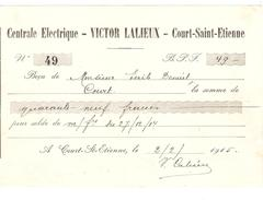 Reçu De 49 Frs De Victor Lalieux Centrale Electrique à Court-St-Etienne Daté Du 2/2/1915 PR4118 - 1900 – 1949