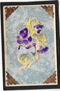 Superbe Fantaisie à Gros Relief  Gaufré Décor De Violettes Et Ruban - Fancy Cards