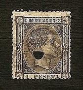 SPAGNA 1875 - Telegrafos - Alfonso XII - 1 P. Negro Grisaceo - Edi:ES 169T - 1875-1882 Regno: Alfonso XII