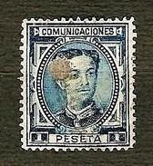 SPAGNA 1876 - Telegrafos - Alfonso XII - 1 P. Azul - Edi:ES 180T - 1875-1882 Regno: Alfonso XII