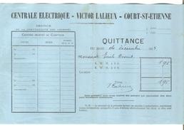 Quittance De 1,95 Frs De Victor Lalieux Centrale Electrique Court -St-Etienne Datée Du Décembre 1914 PR4119 - 1900 – 1949