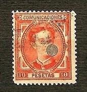 SPAGNA 1876 - Telegrafos - Alfonso XII - 10 P. Beremellon Vivo - Edi:ES 182T - 1875-1882 Regno: Alfonso XII