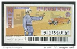 Loterie Populaire PORTUGAL 12-03-1998 Gendarme Loteria Lottery Road Police - Loterijbiljetten