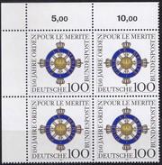 "BRD, 1992 Nr. 1613 **,  Viererblock Mit ER Oben Links, ""Orden Pour Le Mérit"""